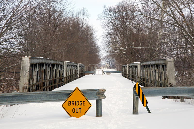 Fördömde trefaldiga Pony Truss Bridge arkivfoton