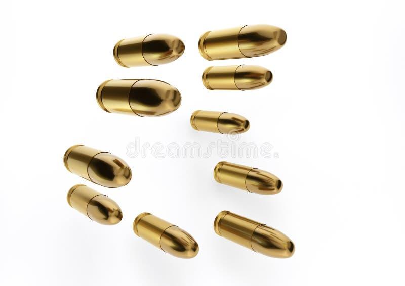 Fördela 9mm kulor för ett vapen i en riktning med isolerat på a vektor illustrationer
