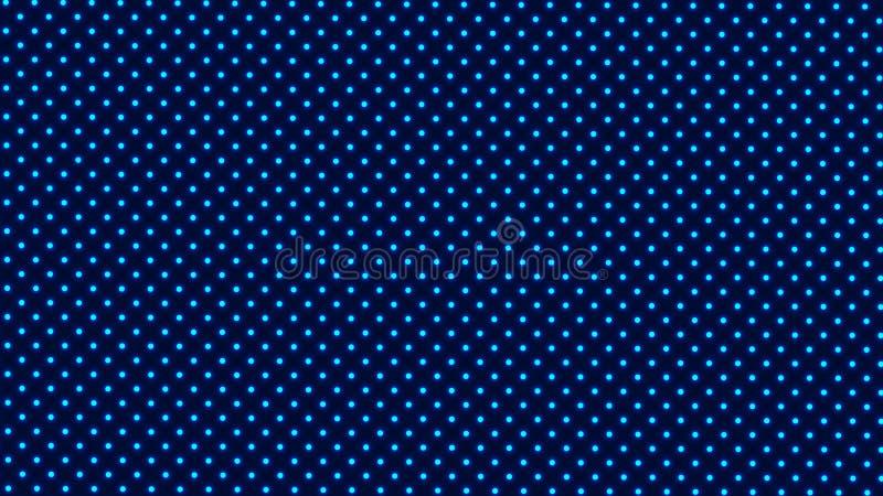 Fördelade Symmetrically blåa glödande prickar eller bollar på mörk bakgrund royaltyfri illustrationer