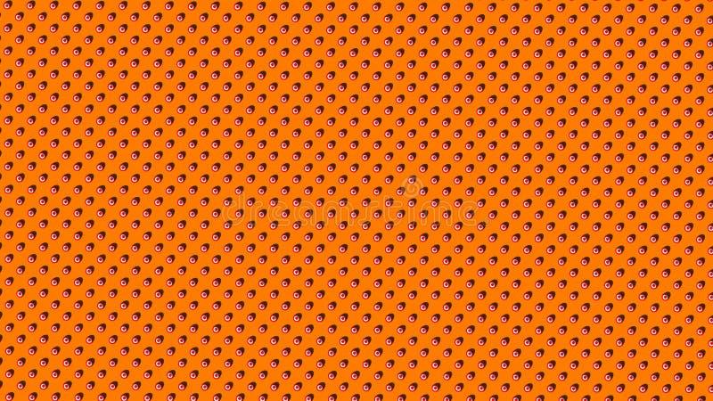Fördelade Symmetrically röda vita randiga prickar eller bollar på orange bakgrund royaltyfri illustrationer