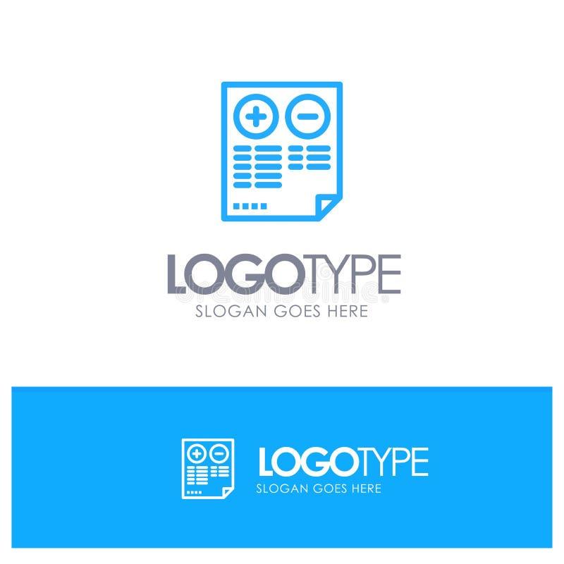 Fördelar lurar, dokumentet, plus, negativ blåa Logo Line Style vektor illustrationer