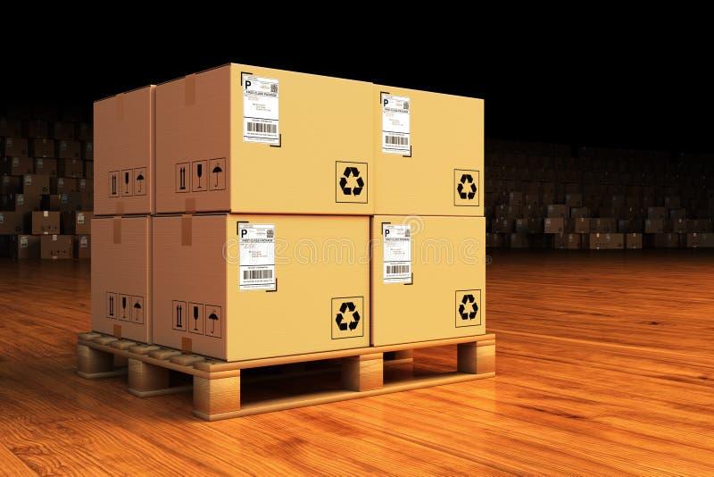 Fördelningslager, packesändning, frakttrans. och leveransbegrepp vektor illustrationer
