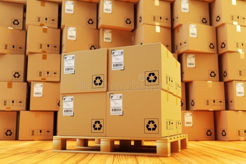 Fördelningslager, packesändning, frakttrans. och leveransbegrepp royaltyfri illustrationer