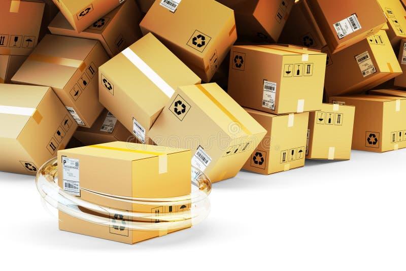 Fördelningslager, packesändnings, frakttrans., logistik och leveransbegrepp stock illustrationer