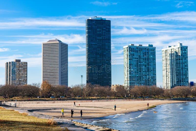 Fördern Sie Strand in Chicago mit den Edgewater-Nachbarschafts-Skylinen stockfotos