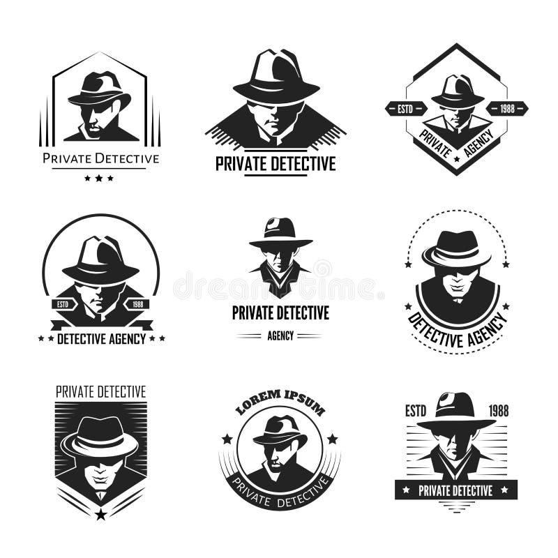 Fördernde einfarbige Embleme des privaten Detektivs mit Mann im Hut lizenzfreie abbildung