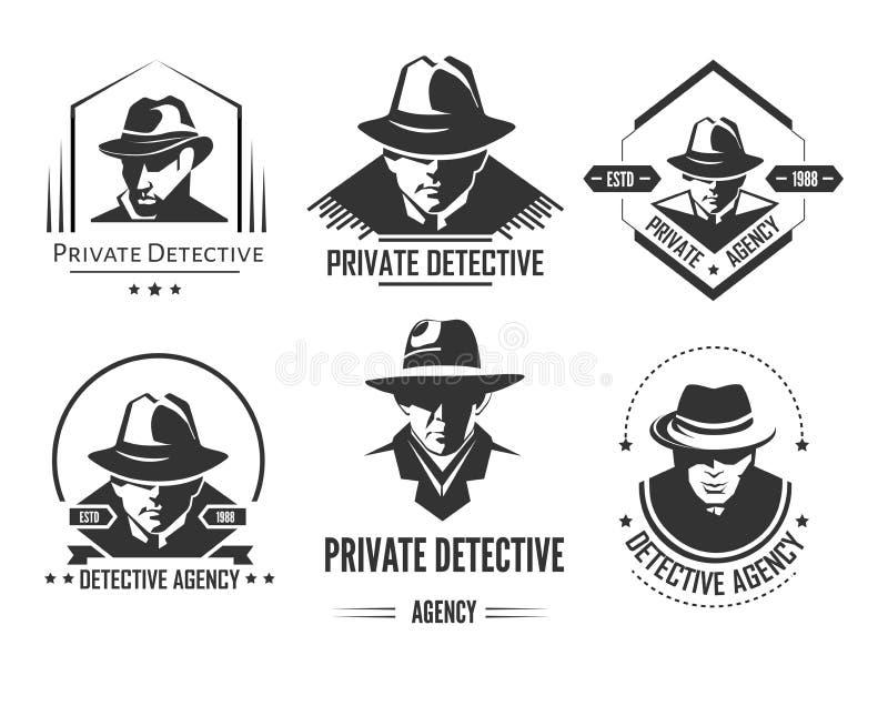 Fördernde einfarbige Embleme des privaten Detektivs mit Mann im Hut und im klassischen Mantel lizenzfreie abbildung