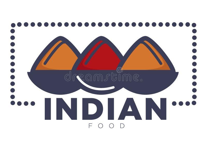Förderndes Emblem des indischen Lebensmittels mit Schüsseln Reis stock abbildung
