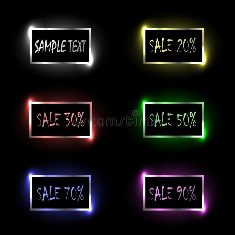 Förderung, Verkauf, Rabatt Werbung von rechteckigen bunten Fahnen oder von Knöpfen für einen Standort mit Funkeln und grellem Gla vektor abbildung