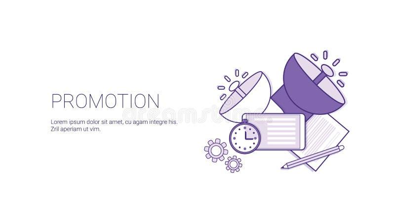 Förderungs-Geschäfts-Marketing-Netz-Fahnen-Schablone mit Kopien-Raum stock abbildung