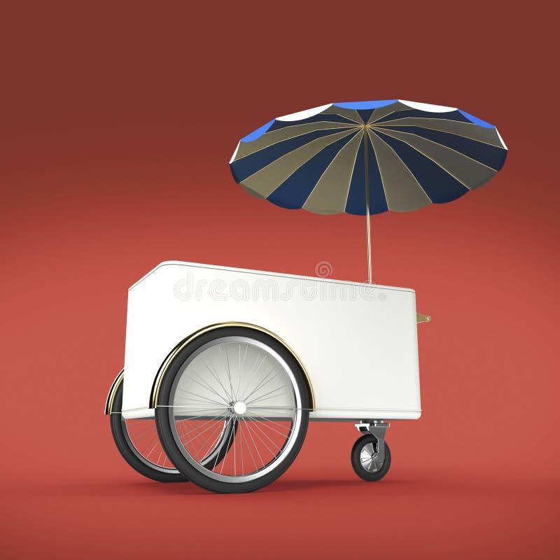 Förderungszähler auf Rädern mit Regenschirm, Lebensmittel, Eiscreme, der lokalisierte Hotdogstoßwarenkorb Einzelhandel-Stand über lizenzfreie abbildung