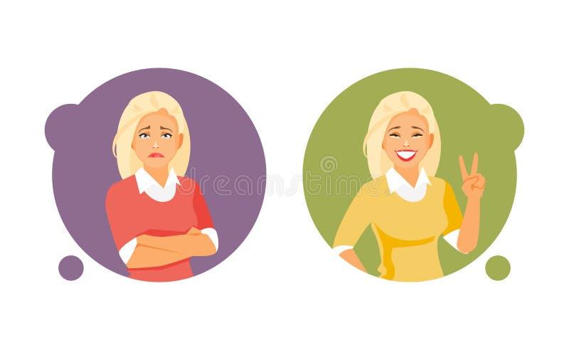 Fördjupnings- och lyckavektor royaltyfri illustrationer