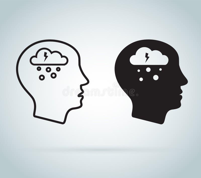 Fördjupningssymbol Mental hälsasymboler av det fördjupnings-, böjelse- eller ensamhetbegreppet Spänningssymbolsuppsättning vektor illustrationer