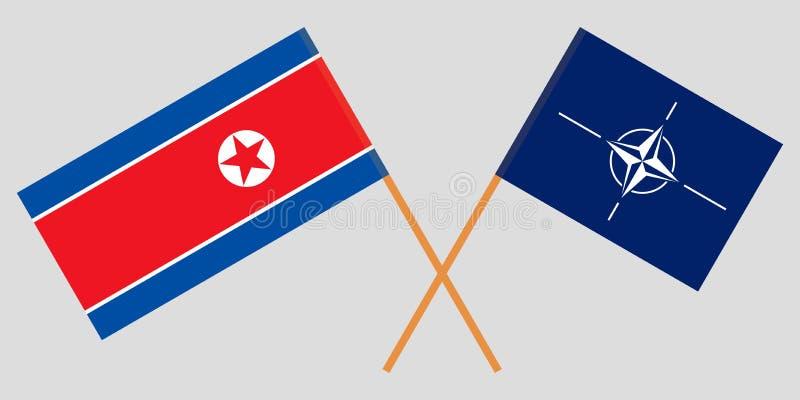 Fördragorganisation och Nordkorea för norr atlantisk NATO och de koreanska flaggorna Officiella f?rger Korrigera proportionen vek royaltyfri illustrationer