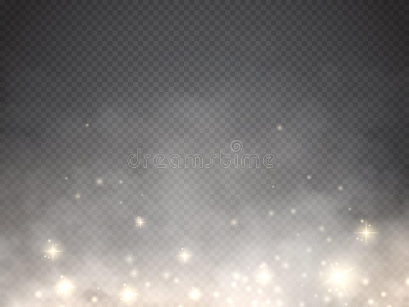 Fördunkla eller röka med isolerad genomskinlig specialeffekt för glöd ljus vektor stock illustrationer