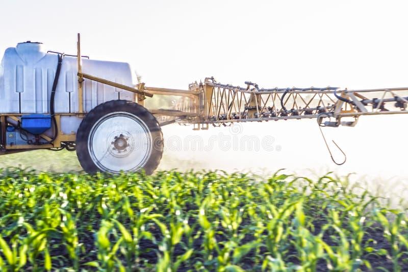 fördunkla från mikrogödningsmedel som besprutas med en skuggad sprejare på fältet av majs royaltyfria foton