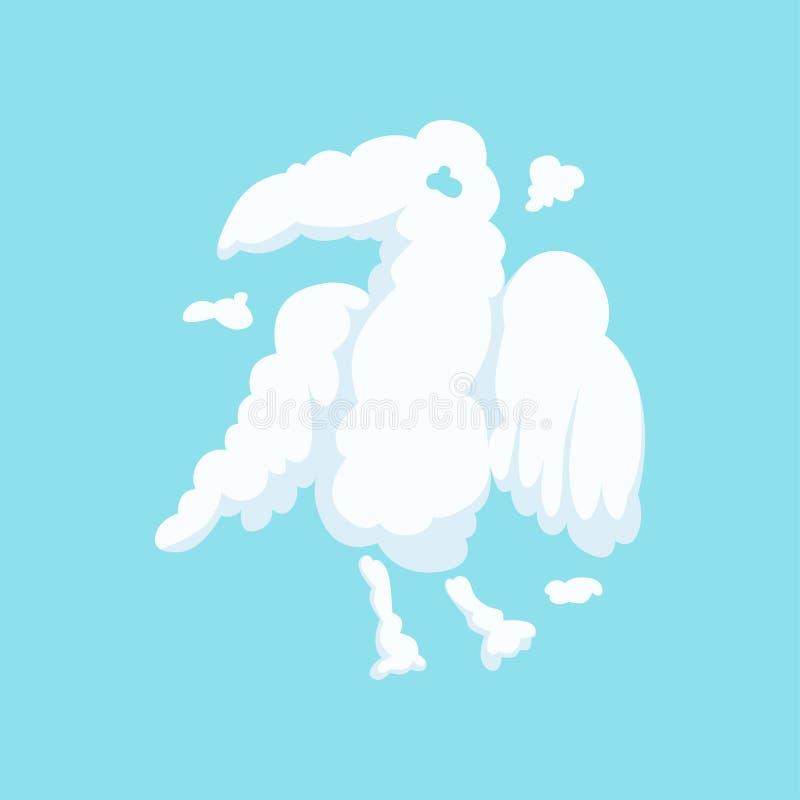 Fördunkla i bisarr form av örnen som isoleras på blått Kontur av den rov- fågeln rolig djur tecknad film Plan vektordesign royaltyfri illustrationer