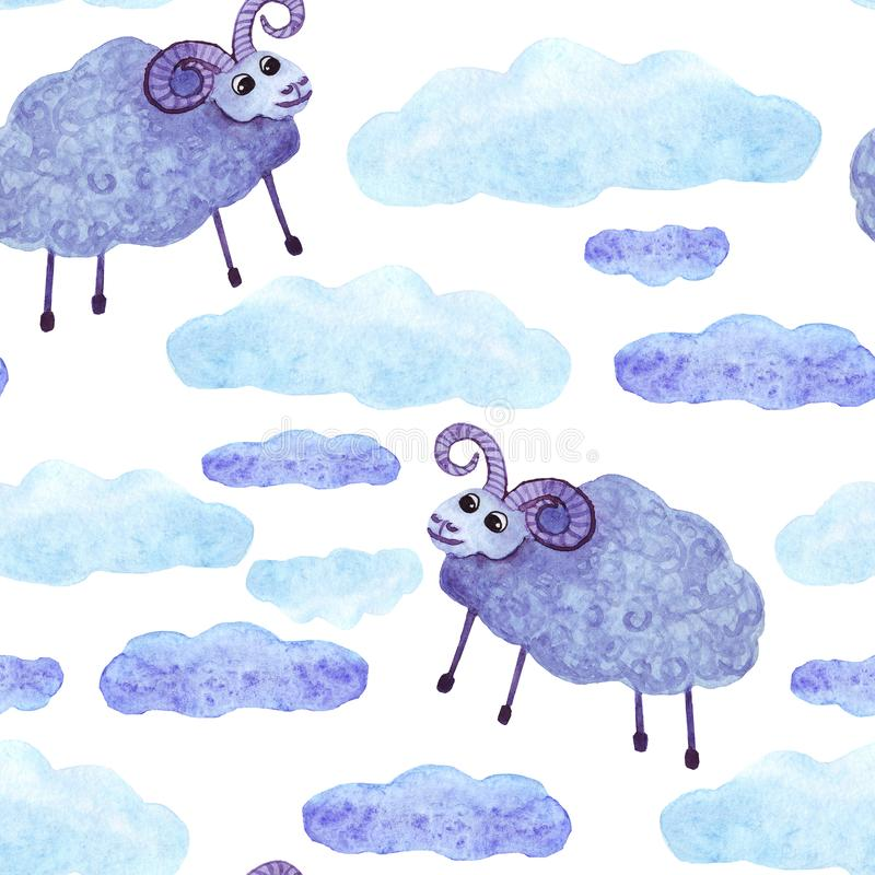 Fördunklar det gulliga fåret för vattenfärgen den sömlösa modellen r vektor illustrationer