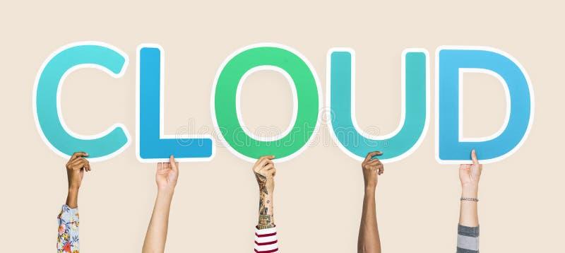 Fördunklar hållande övre blåa bokstäver för händer som bildar ordet arkivbilder
