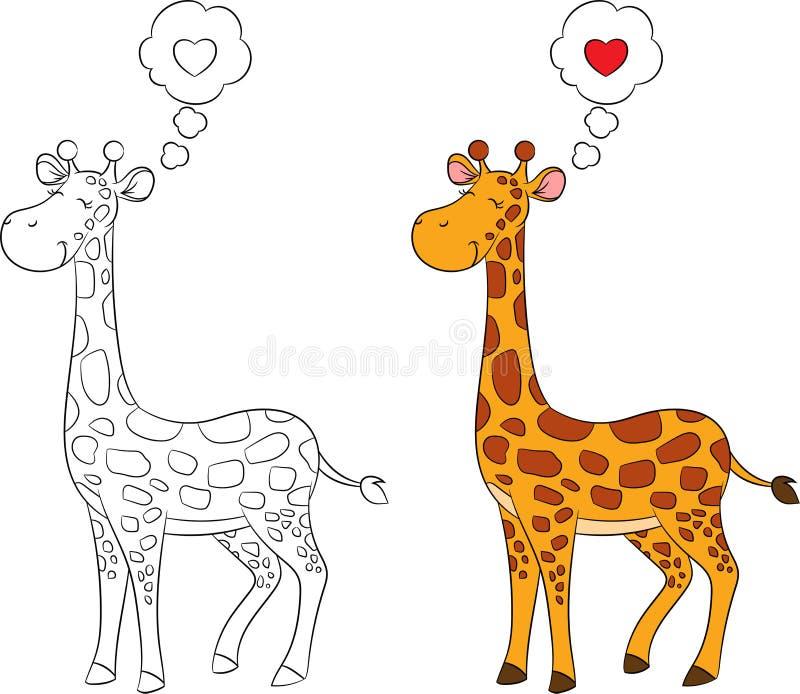 Före och efter behandla som ett barn att dra av ett gulligt giraffet, i färg och kontur, för barns färga bok eller valentins dagk royaltyfri illustrationer