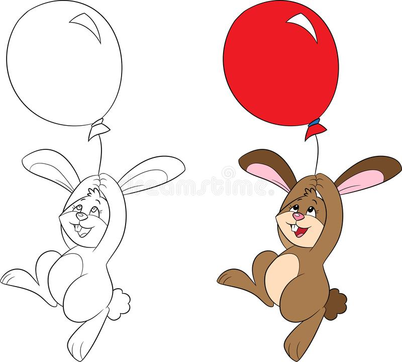 Före och efter illustration av lite kanin, med en ballong som svävar, i färg och kontur, för färga bok eller påskkort stock illustrationer