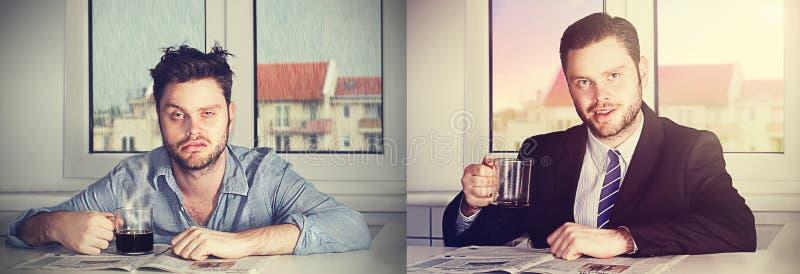Före och efter kaffe fotografering för bildbyråer