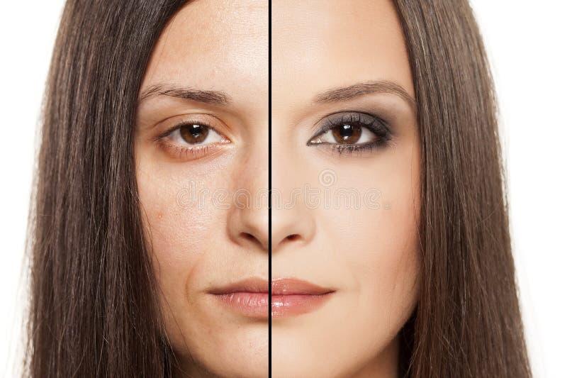 Före och efter makeup arkivbild