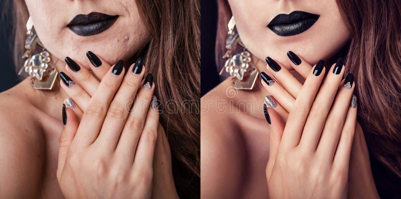 Före och efter retuschera i redaktör Sidan - vid - sidoskönhetstående av kvinnan med makeup och manikyr redigerade royaltyfri fotografi