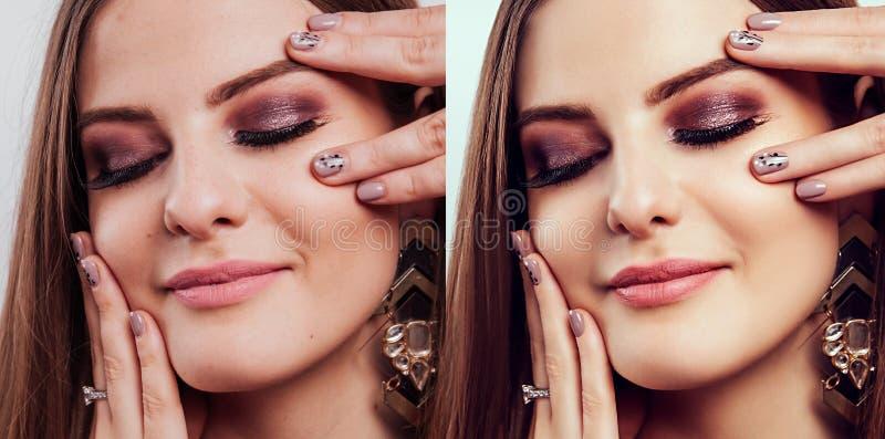 Före och efter retuschera i redaktör Sidan - vid - sidoskönhetstående av kvinnan med makeup och manikyr redigerade arkivbild
