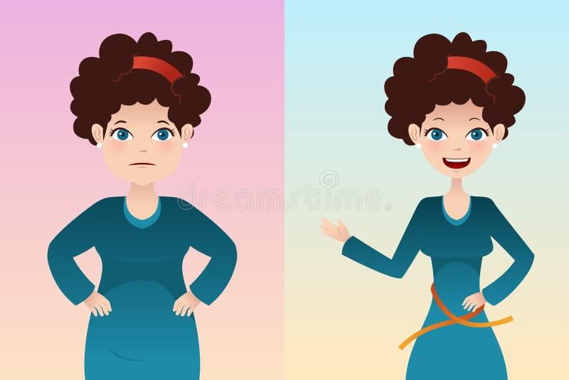 Före och efter: viktförlust royaltyfri illustrationer