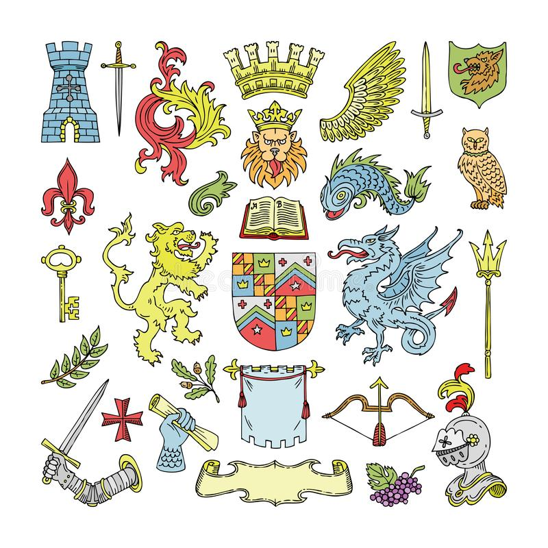Förebåda för sköld- och heraldiktappning för vektor det heraldiska emblemet av kronalejonet eller adlar hjälmillustrationuppsättn stock illustrationer