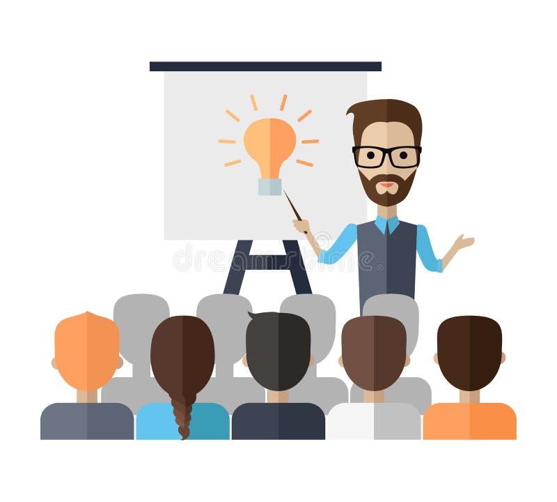 Föreläsare Making en presentation nära Whiteboard stock illustrationer