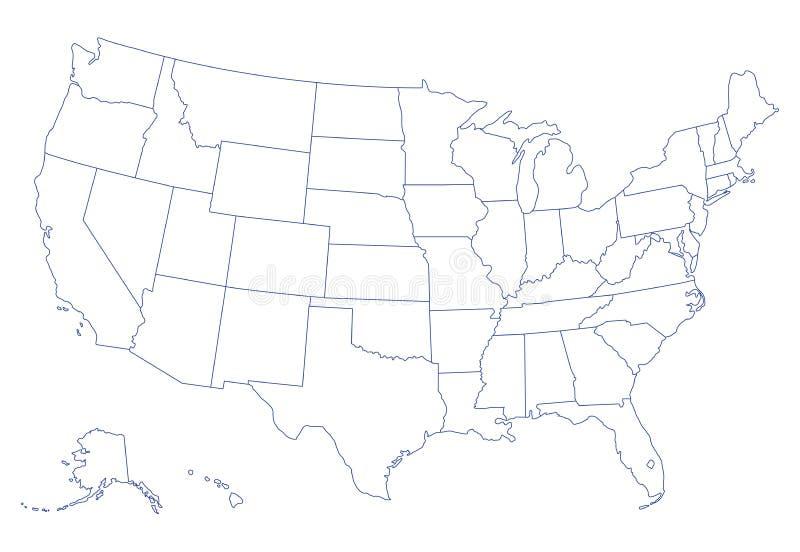 förenade Amerika översiktstillstånd royaltyfri illustrationer
