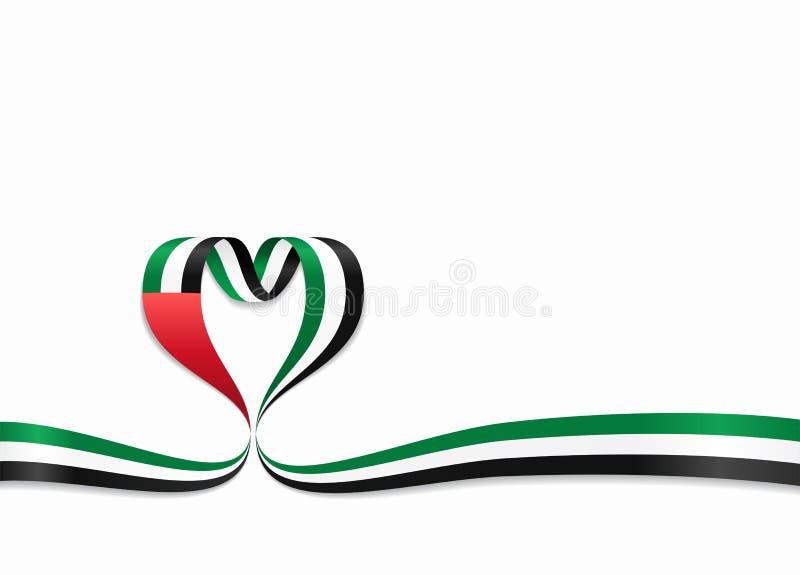 Förenade Arabemiraten flagga hjärta-format band också vektor för coreldrawillustration vektor illustrationer
