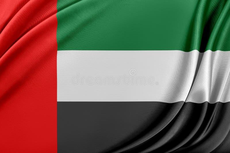 Förenade Arabemiraten flagga med en glansig siden- textur vektor illustrationer