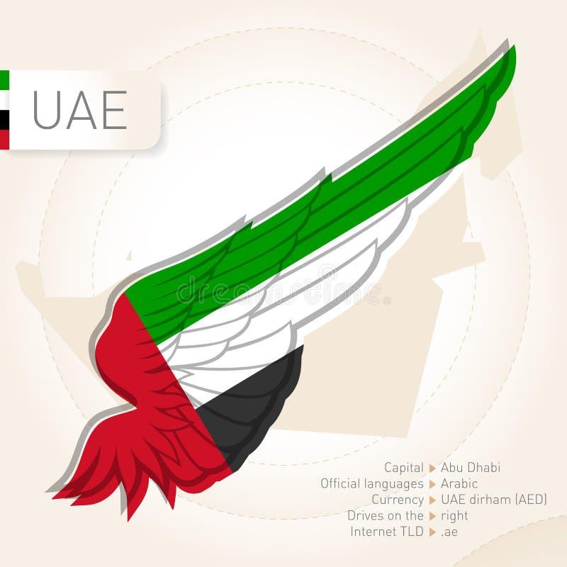 Förenade Arabemiraten infographics med flaggan, översikten och information stock illustrationer