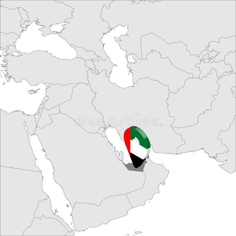 Förenade Arabemiraten lägeöversikt på översikten Asien för flaggaöversikt för 3d Förenade Arabemiraten stift för läge för markör  royaltyfri illustrationer