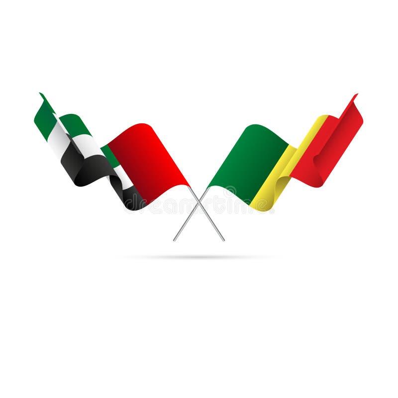 Förenade Arabemiraten och Senegal flaggor också vektor för coreldrawillustration vektor illustrationer