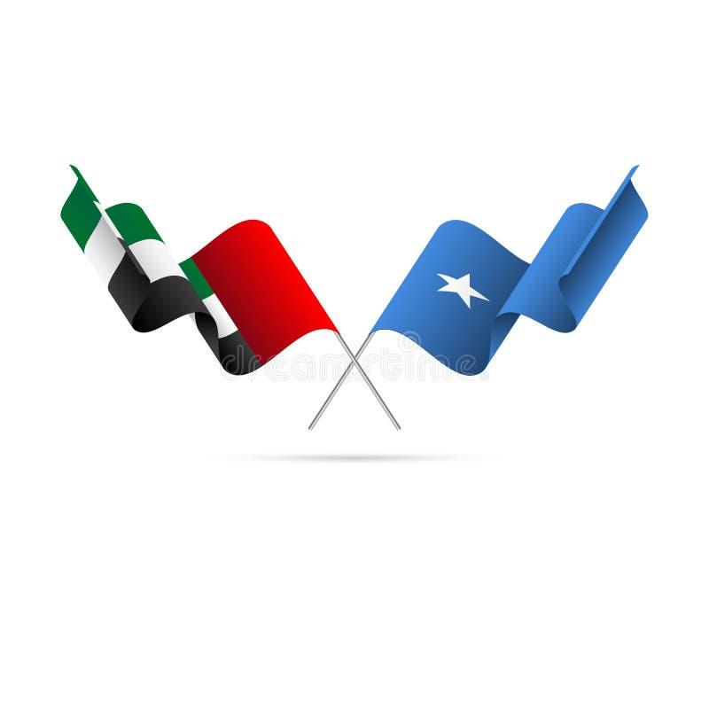 Förenade Arabemiraten och Somalia flaggor också vektor för coreldrawillustration vektor illustrationer