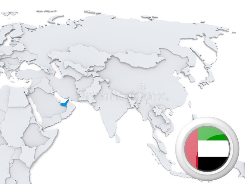 Förenade Arabemiraten på översikt av Asien royaltyfri illustrationer