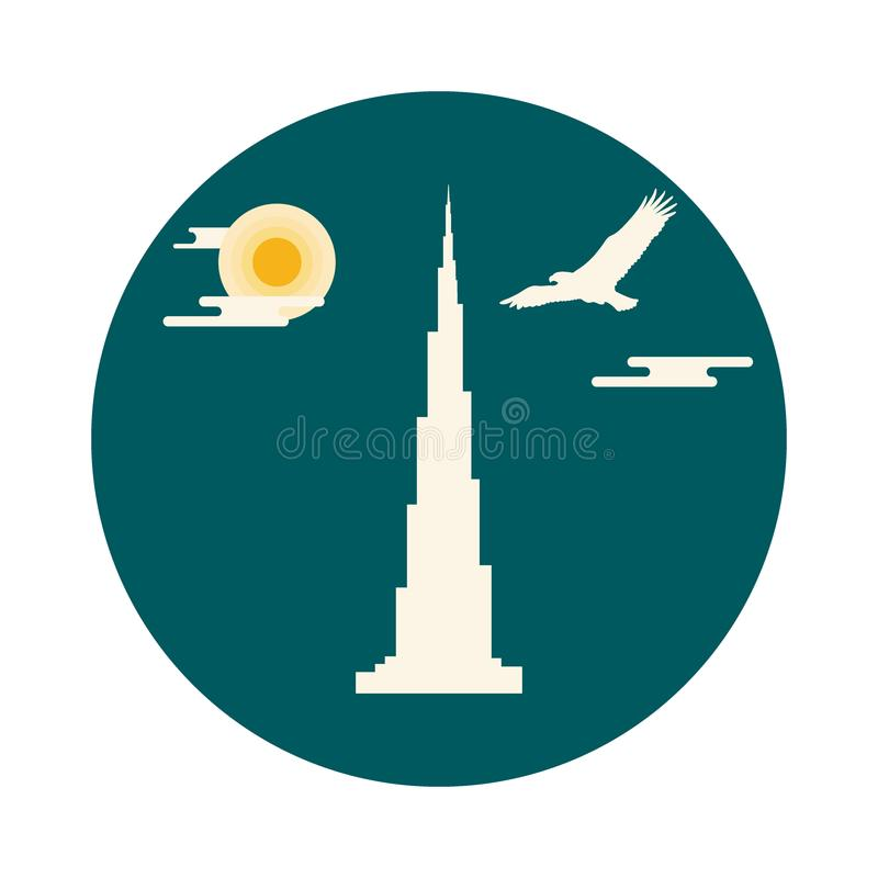 Förenade Arabemiraten skyskrapakontur Dubai berömd buildin stock illustrationer