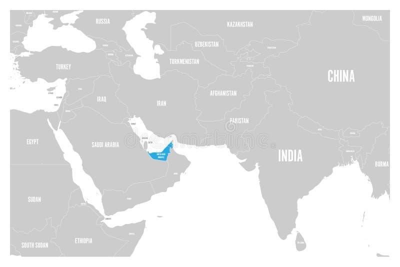 Förenade Arabemiraten slösar tydligt i politisk översikt av South Asia och Mellanösten den enkla plana vektoröversikten royaltyfri illustrationer