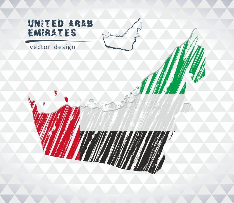 Förenade Arabemiraten vektoröversikt med flaggainsidan som isoleras på en vit bakgrund Skissa drog illustrationen för krita hande stock illustrationer