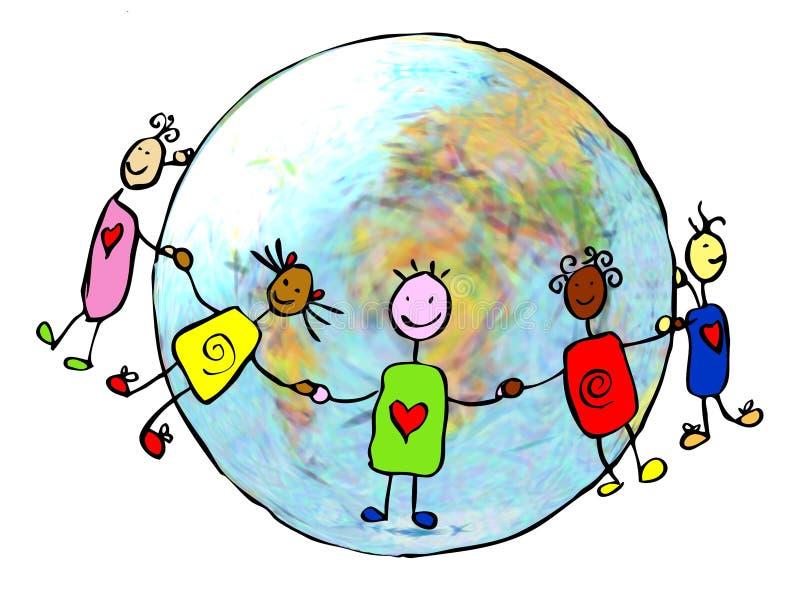 förenade barn royaltyfri illustrationer