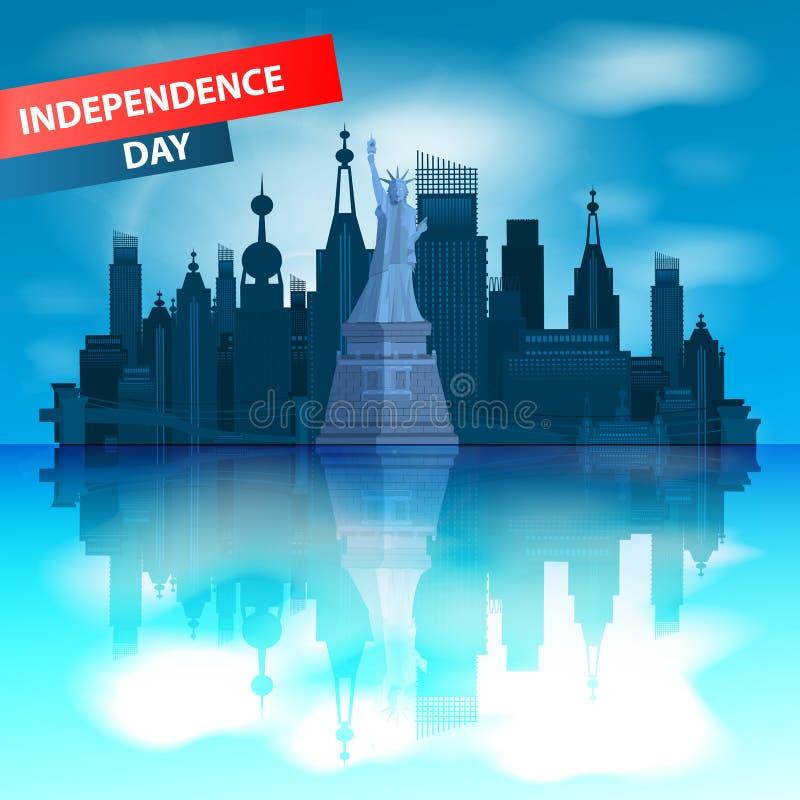 förenade dagsjälvständighettillstånd New York royaltyfri illustrationer