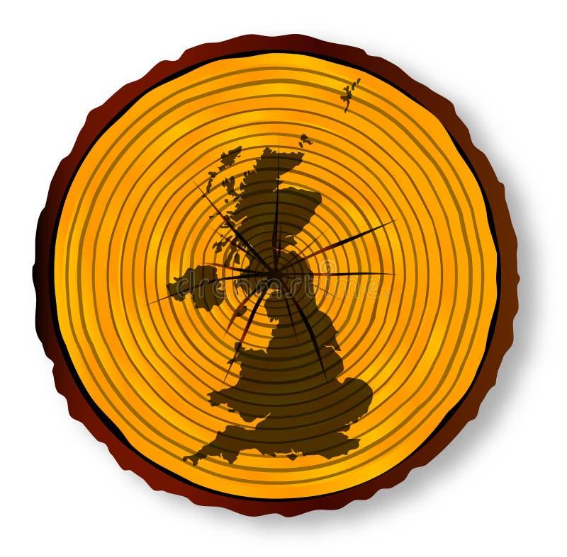 Förenade kungariket översikt på timmeravsnitt royaltyfri illustrationer