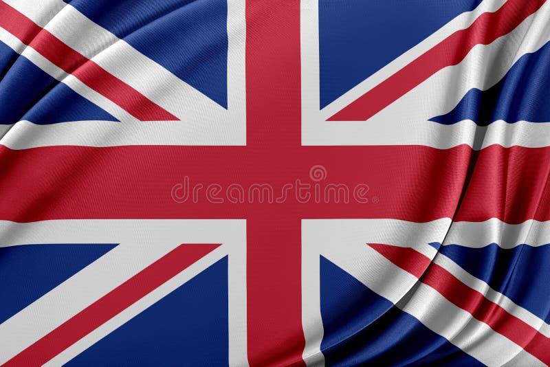 Förenade kungariket flagga med en glansig siden- textur royaltyfri illustrationer
