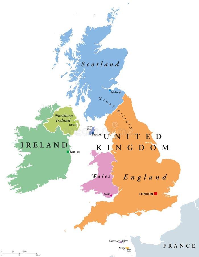 Förenade kungariket länder och Irland politisk översikt stock illustrationer