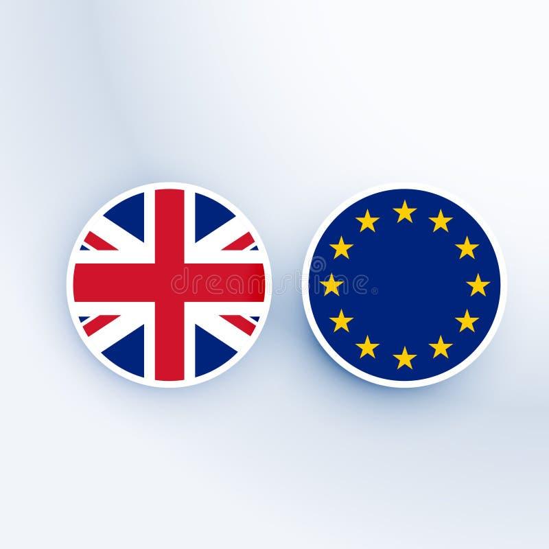 Förenade kungariket och symbol och emblem för europeisk union royaltyfri illustrationer