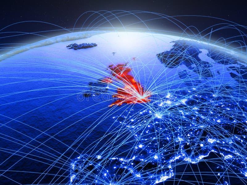Förenade kungariket på blå digital planetjord med det internationella nätverket som föreställer kommunikation, lopp och anslutnin arkivbilder